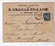 Enveloppe - CAD Béziers + Murviel - Sage 15c Bleu - Graille, Négociant Agricole / Lagarrigue - 1899 - Marcophilie (Lettres)