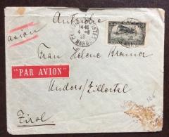 COLONIE FRANCESI - 1928 MAROCCO 3 F. POSTA AEREA ISOLATO SU BUSTA PAR AVION PER IL TIROLO - Lettres & Documents
