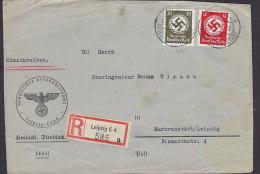 Germany Deutsches Reich Registered Einschreiben Label LEIPZIG Reichmessestadt 1942 Cover Brief (Front Only) Dienstsache - Officials