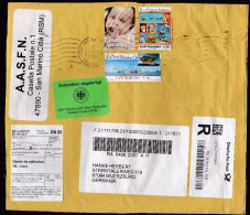 San Marino: Fragment Of Cover To Germany With Customs Label. Stamps: Baby, Andersen - Brieven En Documenten