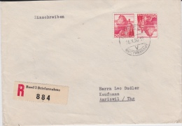 """Switzerland-1950 Basel Postage Paid 40 Cents """"Tete A Beche"""" Registered Letter Cover - Svizzera"""