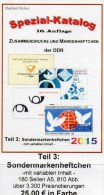 RICHTER DDR-Katalog Teil 3 Sonder-Markenheftchen 2015 Neu 25€ SMH+Abarten Booklet And Error Special Catalogue Of Germany - Collections