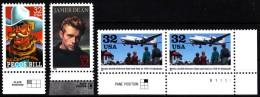 "USA 1996, 1998 MiNr. 2745, 2749, 29 (2x) ** / Mint  ""plate Position"" ; James Dean, Pecos Bill, Berliner Luftbrücke - Etats-Unis"