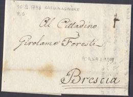 1798 PREFILATELIA LETTERA CARTELLA CASALMAGGIORE PER BRESCIA - TASSATA - BELLISSIMA!! - 1. ...-1850 Prefilatelia