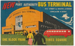 Autobus Bus Terminal Advert In New York Art Deco - Bus & Autocars
