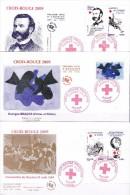 FRANCE 2009    FDC   ENVELOPPE 1  Er JOUR LES 150 ANS DE LA CROIX ROUGE  4386 A 4390 - FDC