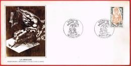 La Gravure Premier Jour 8.6.1984 Versailles   Env.illustrée Dessin Original Impression à La Feuille D´or - 1980-1989
