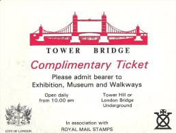 Tower Bridge Complimentary Ticket In Association With Royal Mail Stamps - Bruggen