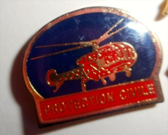 Pin´s POMPIER HELICOPTERE PROTECTION CIVILE - Firemen