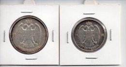 REF 1  : Lot De 2 Monnaies Coins YOUGOSLAVIE 20 DINARA 1938 Et 50 DINARA ANHAPA 1938 Pièces En Argent Silver - Yougoslavie