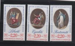 SAINT PIERRE ET MIQUELON 3 TIMBRES LIBERTÉ ÉGALITÉ FRATERNITÉ NEUFS ** 499 à 501 - St.Pierre & Miquelon