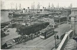 Marseille Quai D Embarquement Des Transatlantiques Paquebots Tram Pub Absinthe Oxygenee Cusenier - Passagiersschepen