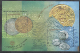 ARGENTINA ,2014,  MNH, MINTING OF FIRST COIN, COINS, CANONS, STYLIZED MOUNTAINS, S/SHEET - Munten