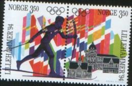 Norvegia Norway Norvege  1993 Winter Olympic Games Lillehammer 2v  Se Tenant Complete Set  ** MNH - Nuovi