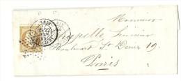Etoile N° 24 De PARIS. Lettre Locale - R. DE CLERY. Cachet De La 5e Et De La 6e LEVEE. - 1849-1876: Période Classique
