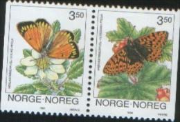Norvegia Norway Norvege  1994 Papillon Butterflies Farfalle 2v Se Tenant    Complete Set  ** MNH - Nuovi