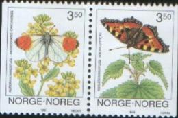 Norvegia Norway Norvege  1993 Papillon Butterflies Farfalle 2v Se Tenant    Complete Set  ** MNH - Nuovi