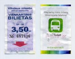 Ticket de bus - Vilnius (Lituanie) - 3,50 Lt. (avant le passage � l'euro)