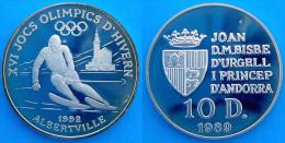 ANDORRA 10 D 1989 ARGENTO PROOF ALBERTVILLE SKY 1992 INVERNALI GIOCHI PESO 12g TITOLO 0,925 CONSERVAZIONE FONDO SPECCHIO - Andorra
