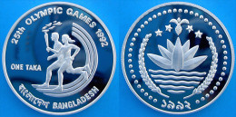 BANGLADESH 1 T 1992 ARGENTO PROOF SILVER BARCELLONA 92 OLIMPIC RUNNERS WITH TORCH PESO 31,35g TITOLO 0,925 CONSERVAZIONE - Bangladesh