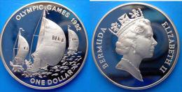 BERMUDA 1 $ 1992 ARGENTO PROOF OLYMPIC GAMES 92 VELA SAILBOATS PESO 31,47g TITOLO 0,925 CONSERVAZIONE FONDO SPECCHIO. - Bermuda
