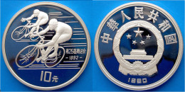 CINA 10 Y 1990 ARGENTO PROOF BARCELONA 92 CICLISMO PESO 27g TITOLO 0,900 CONSERVAZIONE FONDO SPECCHIO UNC. - Cina