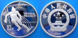 CINA 10 Y 1991 ARGENTO PROOF BARCELONA 92 SLALOM PESO 30g TITOLO 0,900 CONSERVAZIONE FONDO SPECCHIO - Cina