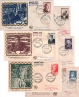 France - 1954 YT N° 989 994 Série Valéry Grands Hommes Enveloppe Illustrée Premier 1er Jour FDC Cachet Paris Sète Etc. - 1950-1959