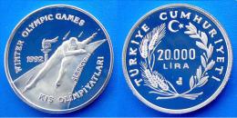 TURCHIA 20000 L 1992 ARGENTO PROOF WINTER OLYMPIC GAMES 92 ALBERTVILLE PATTINAGGIO VELOCITA' PESO 28,28g TITOLO 0,925 CO - Turchia