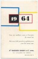 Calendrier-Publicité. Equipement Moto/Vélo. Ets.Dassy-Raeker. Chaussée De Haecht. Bruxelles. 1964. - Non Classés