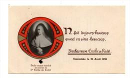 IMAGE PIEUSE RELIQUAIRE  DE LA BIENHEUREUSE EMILIE DE RODAT - Devotieprenten