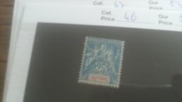 LOT 251010 TIMBRE DE COLONIE GUYANE NEUF* N�46 VALEUR 25 EUROS