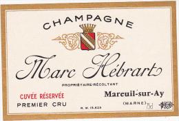 Etiquette Champagne  - Marc Hébrart - Cuvée Réservé Premier Cru - Mareuil-sur-Ay (51) - Champagne