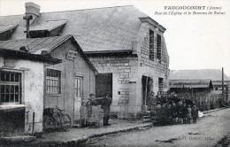 02 - FAUCOUCOURT - Rue De L'Eglise Et Le Bureau De Tabac  GOHIER - Vélo - Groupe D'enfants - Chien - France