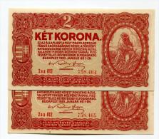 "Hongrie Hungary Ungarn 2 Korona 1920 Serial "" Aa "" AUNC / UNC - 2 Consecutives  # 1 - Ungheria"