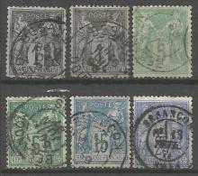 France - Type Sage - N°75-78-83-90-106 Obl. BESANCON DOUBS - 1876-1898 Sage (Type II)