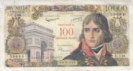Billet 10000 F Bonaparte Surchargé 100 NF Alph. U.148 - 1955-1959 Overprinted With ''Nouveaux Francs''