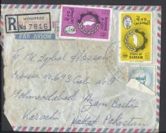 Bahrain Registered Airmail 1976 Map Of Bahrain 200f, 80f Postal History Cover Sent From Bahrain To Pakistan - Bahrain (1965-...)