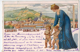 Karlsruhe  Gruss Durlach (1905) Litho - Karlsruhe