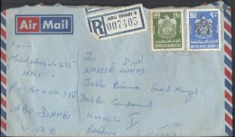 United Arab Emirates Registered Airmail 1977 Eagle, Coat Of Arms 140f. 90f Postal History Cover Sent To Pakistan - Abu Dhabi
