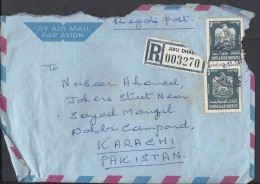 United Arab Emirates Registered Airmail 1977 Eagle, Coat Of Arms 2d Postal History Cover Sent To Pakistan - Abu Dhabi