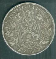 Piece Argent , Silver ,5 Francs Argent 1870 - Leopold 2 Roi Des Belges     -  Pia10403 - 09. 5 Francs