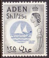Aden 1964 SG #85 1sh25c MLH OG Wmk Multiple Crown Block CA CV £18 - Aden (1854-1963)