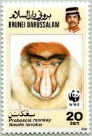 N° Michel 431 (YT 432) - WWF - Timbre De Brunéi Darussalam (MNH) - (1991) - Monkey Head (Facing) (JS) - Brunei (1984-...)