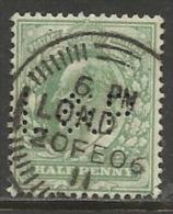 """GRANDE BRETAGNE , 1/2 P , Anniversaire De L'Avènement D' Edouard VII , 1902 - 1910 , Perforé Perfin : """" L&P """", N°YT 106 - Great Britain"""
