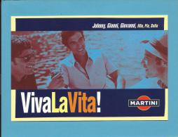 MARTINI - 2001 - Viva La Vita - Johnny, Gianni, Giovanni - ADVERTISING - Postcard From PORTUGAL- 2 Scans - Alcohols