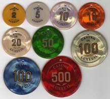 Jeton Chip Casino : Lot De 9 Jetons Percés : Casino De Luxeuil - Casino