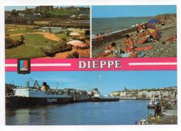 DIEPPE--1984--Multivues (mini-golf,plage,port Avec Ferries-Sealink-)--blason--cpm éd Mage - Dieppe