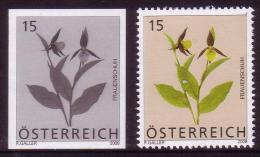 Austria blackprint proof + issued stamp - flower - orchid
