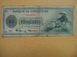 Indochine Indochina Vietnam Viet Nam VF 50 Piastres Banknote 1945 - Pick#77/ 02 Images - Indochine